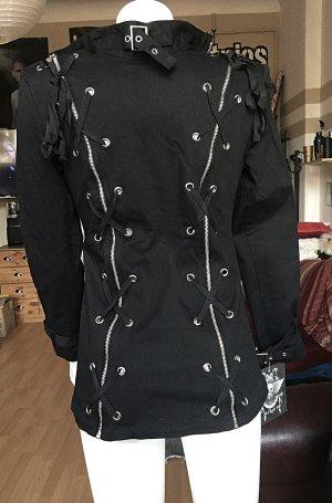 Schwarze Hard Leather Stuff Jacke Goth neu S