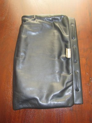 Carry Bag black-silver-colored leather