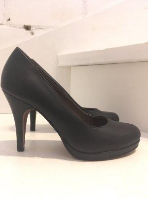 Tamaris Plateauzool pumps zwart Leer