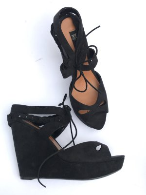 schwarze High Heels Gr 39 MANGO Blogger Vintage Style schwarz Plateau sexy