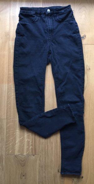 H&M Hoge taille broek zwart-antraciet