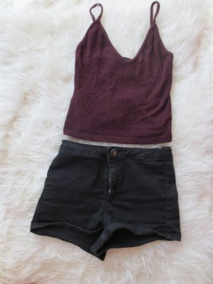 Schwarze High waisted Hotpants in 32