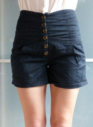 Schwarze high-waisted Vero Moda Shorts Größe 36 mit hoher Knopfleiste