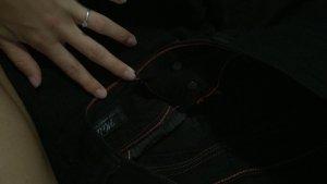 Cross Drainpipe Trousers black cotton