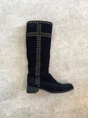 Prada Laarzen met hak zwart-zilver Leer