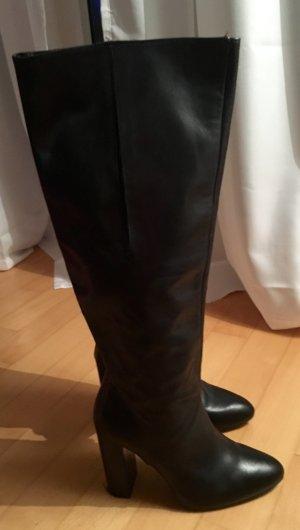 Schwarze hohe Stiefel aus echtem Leder in 36