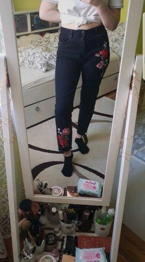 H&M Divided Jeans a vita alta nero-rosso scuro