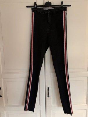 Zara Pantalone a vita alta nero-rosso
