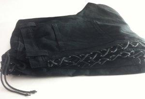 schwarze Hose mit Schnürung am Bein, Schlaghose Jeans Gr. 32