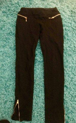 Pantalon taille haute noir-doré
