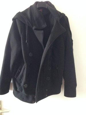Schwarze Jacke aus Stoff
