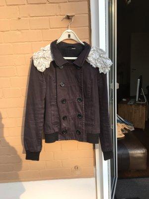 Schwarze Jacke Blazer mit schulter Details perlen rüschen schulterpolster like