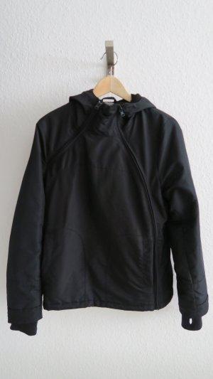schwarze Jacke für Herbst und Winter mit Kapuze Größe L