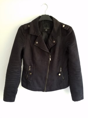 schwarze Jacke im Bikerstil in Wildleder Optik Lederjacke