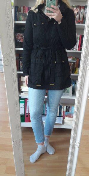 Schwarze Jacke Mantel Übergang Herbst Trenchcoat