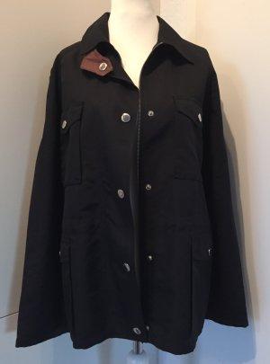 Schwarze Jacke mit Cognac-farbenen Lederdetails (Gr. XL = 42, 42/44)