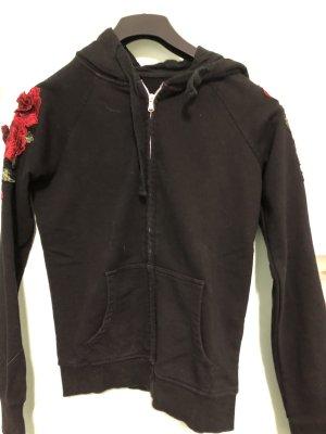 Schwarze Jacke mit Rosen