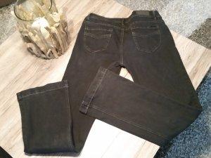 Schwarze Jeans m. Lederzöpfen v. Orsay Gr. 40