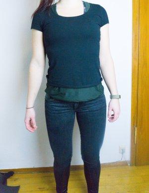 Schwarze Jeans mit Leder Mesh