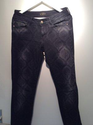 Schwarze Jeans mit Spitzenmuster