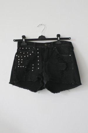 Schwarze Jeans-Shorts mit Fransen