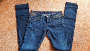 schwarze Jeanshose von Zara Gr 40 mit Blumestickerei
