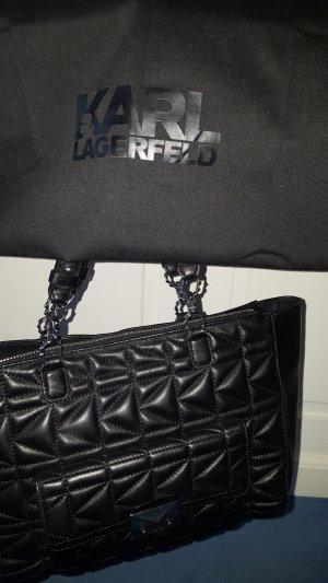 Karl Lagerfeld Bolsa de hombro negro-color plata Cuero