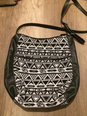 schwarze karrierte Tasche H&M