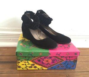 schwarze Keil-Pumps Ballerinas von LAZAMANI mit Riemen * Wildleder * Gr. 38