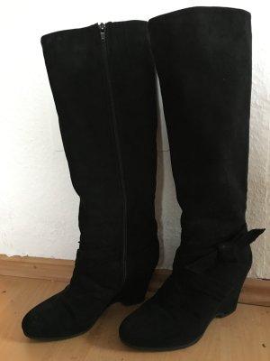Schwarze Keilabsatz Stiefel