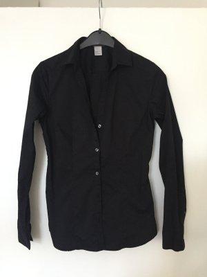 Schwarze klassische Basic Bluse Gr. S