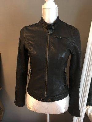 Schwarze klassische Echt- Lederjacke mit Stehkragen