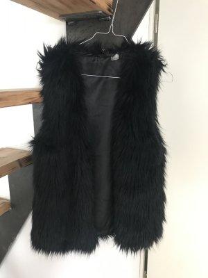 H&M Smanicato di pelliccia nero Pelliccia ecologica