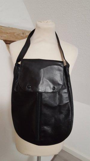 Schwarze Kunstleder Handtasche Shopper Damen Tasche