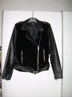 schwarze Kunstleder-Jacke Gr. XL von Fishbone mit Kunstfell Grunge