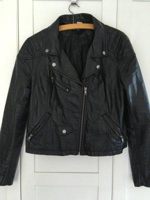 schwarze Kunstlederjacke H&M