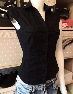 Schwarze kurzärmelige H&M Bluse XS