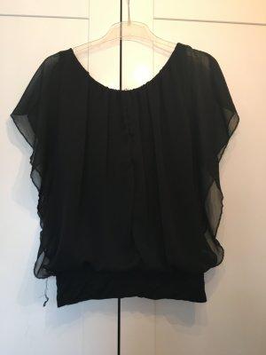 Schwarze kurzärmlige Bluse