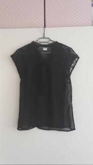 Schwarze Kurzarm Bluse mit Spitze