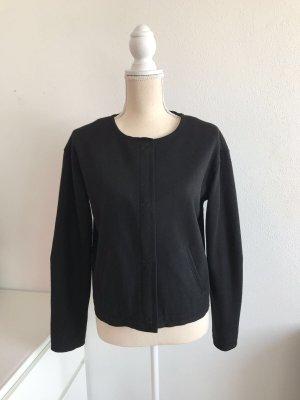 Schwarze kurze Blazer Jacke aus Schurwolle