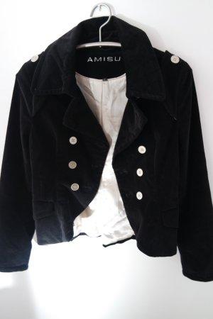Schwarze kurze Jacke / Blazer aus Samt im Admiral-Stil