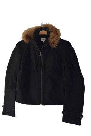 Schwarze kurze Jacke Calvin Klein mit Pelzbesatz