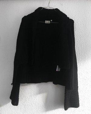 Schwarze Kuschelige Strickjacke