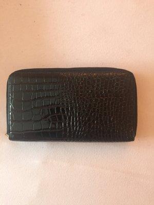 Schwarze Lack Clutch mit Reißverschluss, Fächer für Münzen Karten