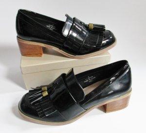 Schwarze Lack Troteur asos Größe 35 Tassel 3 Loafer College Schuhe Schwarz Pumps Business