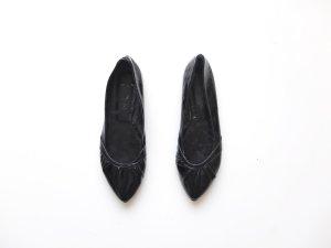 schwarze Lackschuhe Gr. 39 Ballerinas spitz rot schleife bow
