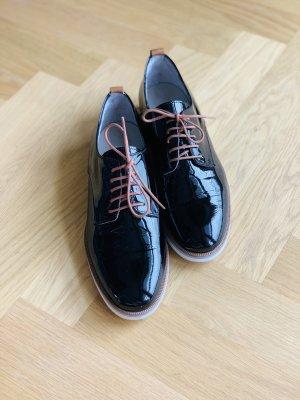 Maripé Zapatos estilo Oxford negro-coñac