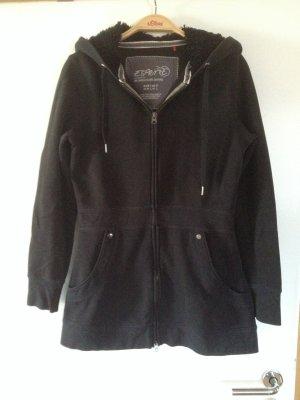 Schwarze, längere Sweat-Jacke in Schwarz von Esprit
