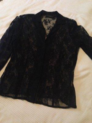 Schwarze langärmelige Spitzen Bluse von Kathleen Madden