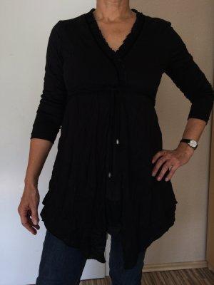 Schwarze Langarm-Bluse